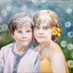 dubbel portret jongen en meisje
