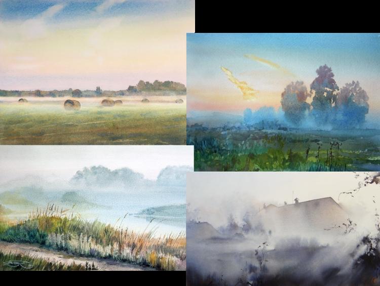 collage van landschappen in de mist