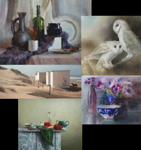 collage van 5 aquarellen van 100 tinten grijs