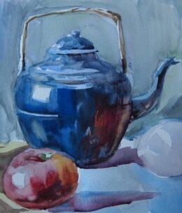 blauwe theepot met appel
